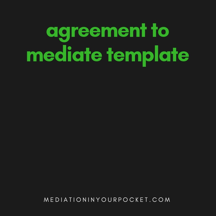 agreement to mediate template